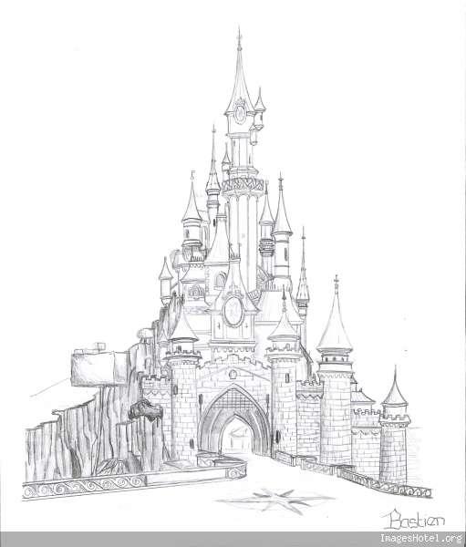 Pin dessin chateau de disneyland on pinterest - Chateau disney dessin ...