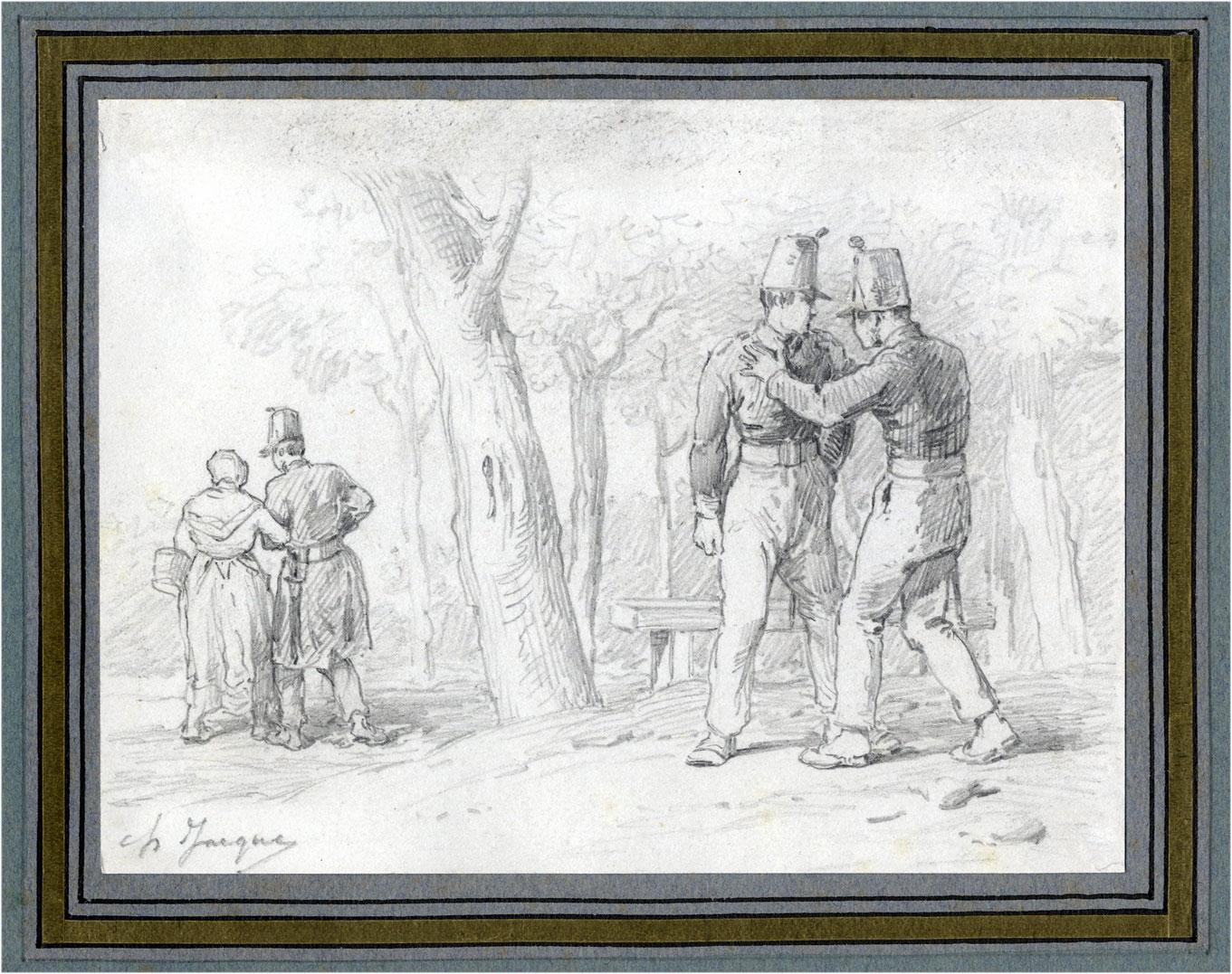 Charles Emile Jacque Barbizon Militaire depit amoureux petite bonne ou Soubrette Corot Daubigny Diaz Millet