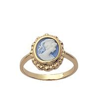 Neu Ring Kamee Blau Vergoldet Neu Größenwahl