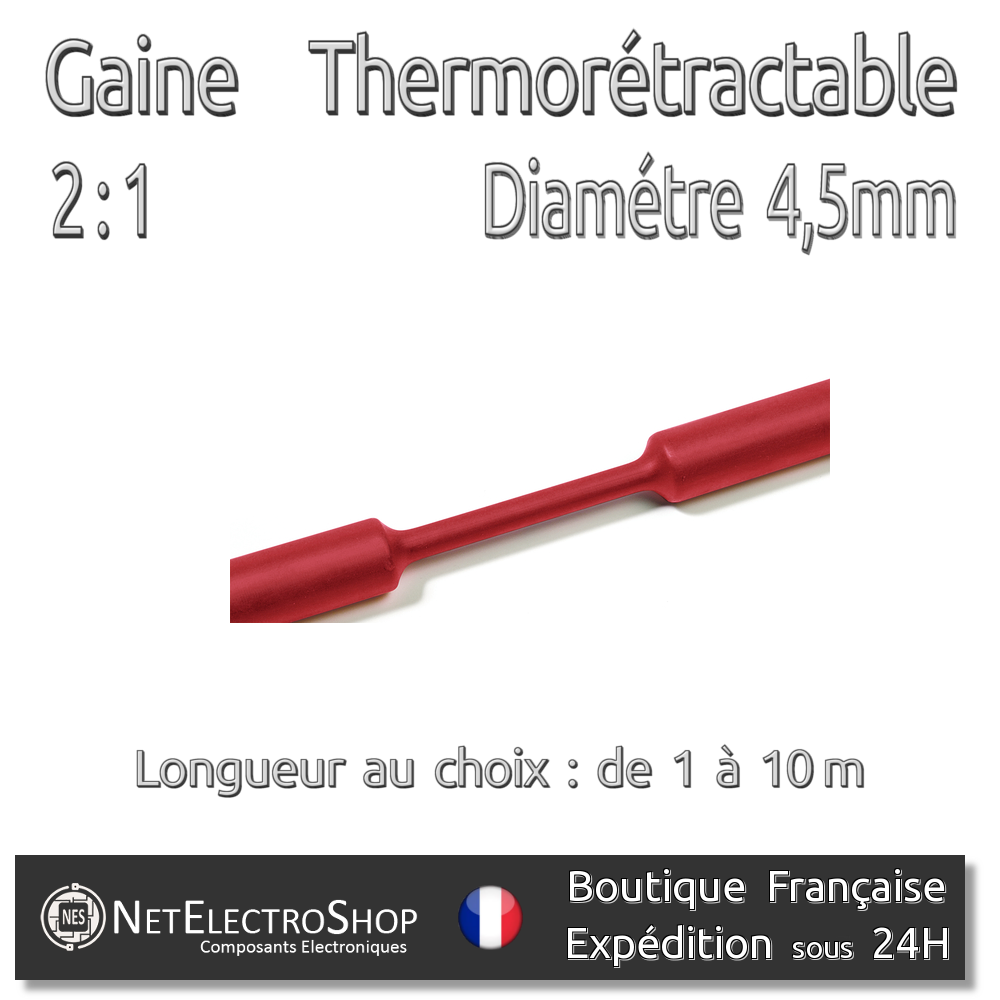Diam 4,5 mm Gaine Thermorétractable 2:1 1 à 10m #102 Rouge