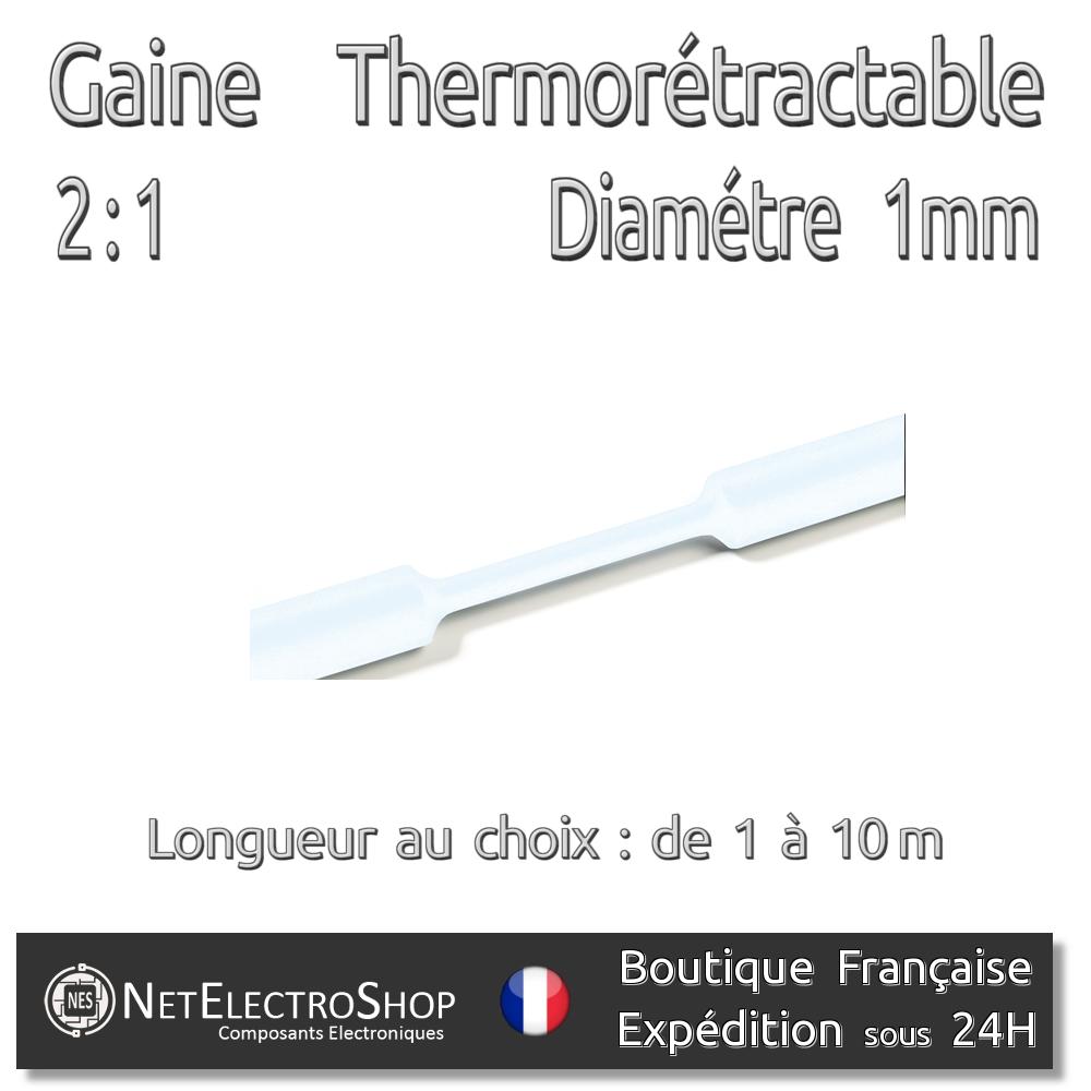 2 mm Transparent 1 à 10m #041 Gaine Thermorétractable 2:1 Diam