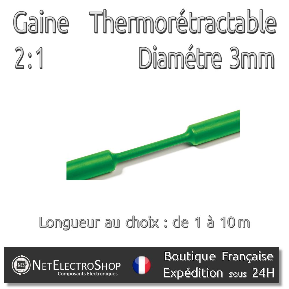 Vert 1 à 10m #063 Gaine Thermorétractable 2:1 3 mm Diam