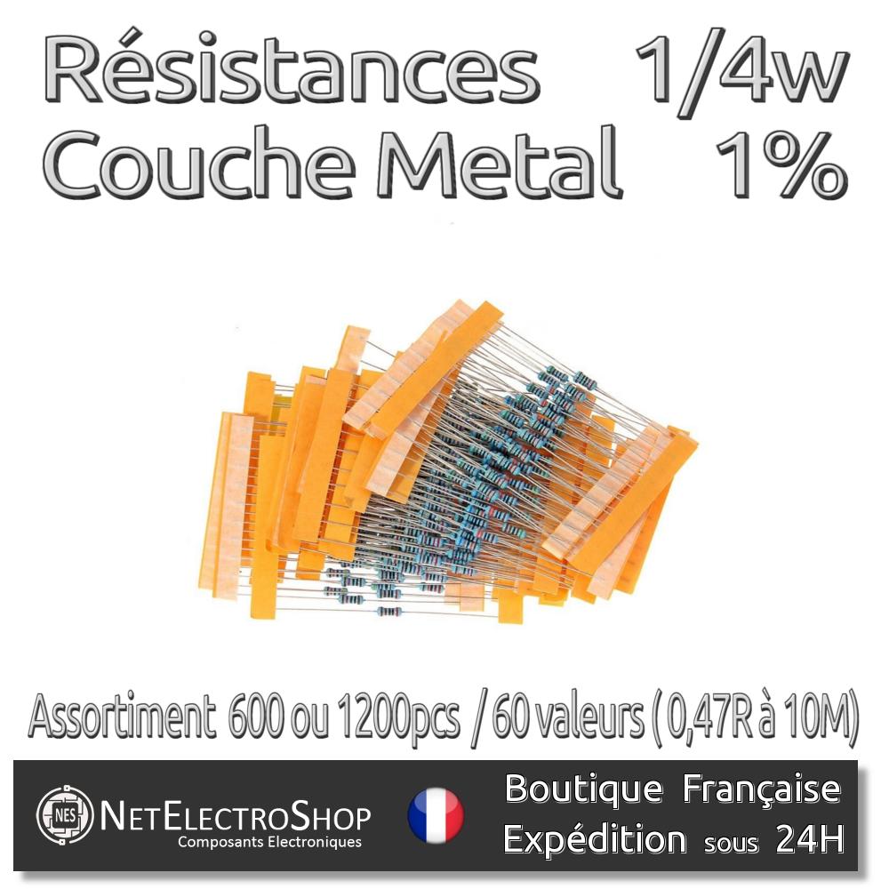 4W 64 Composant Assortiment De Résistances à Couche Métallique 1280 Pièces 1